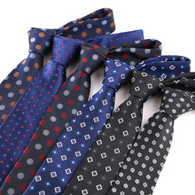 YISHLINE Fashion 7CM Mens tie Striped Dots Floral 1200 Needles Neck Ties For Neckwear bridegroom  Wedding Tie Skinny Blue RED
