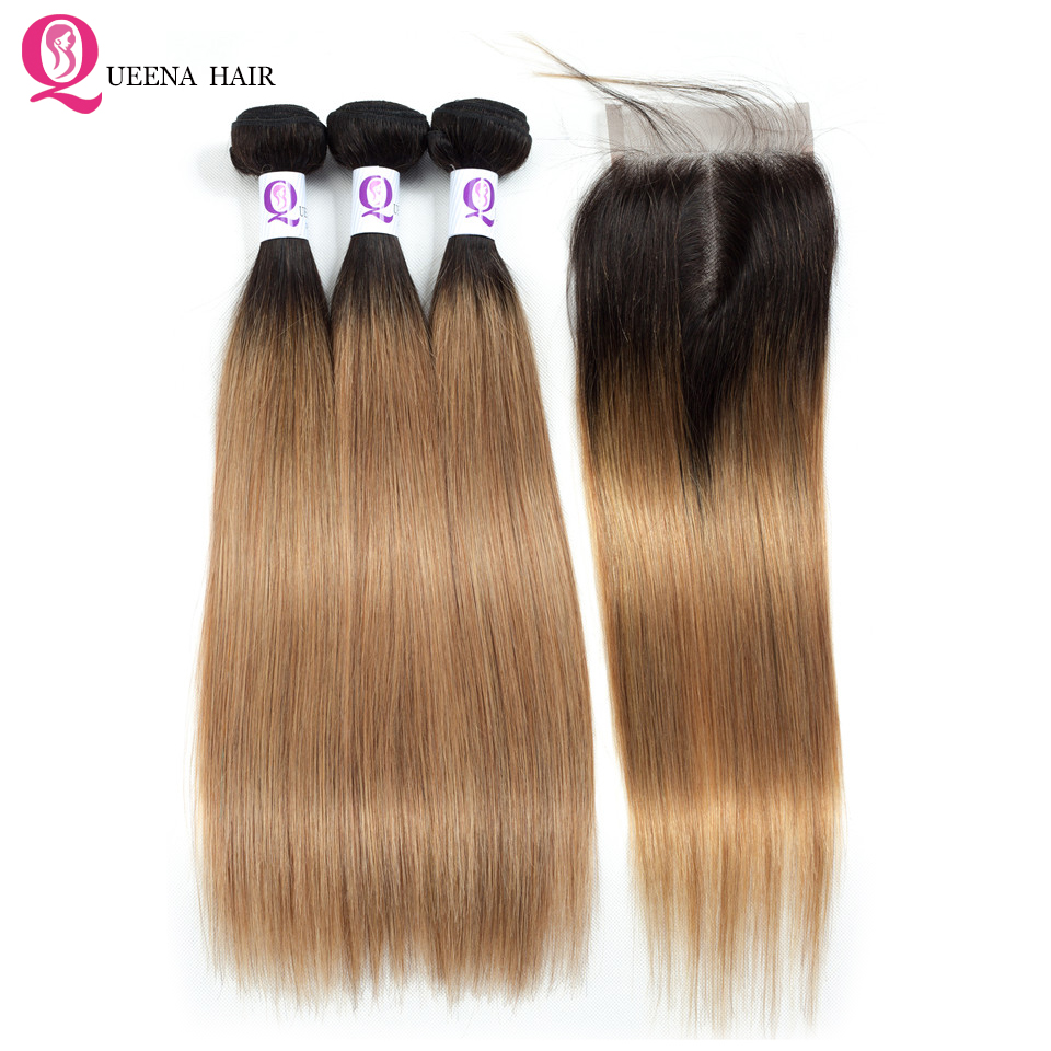 1B 27 Ombre Straight Hair Bundles With Closure Honey Blonde Peruvian Human Hair Bundles With Closure Remy 3 Bundles With Closure