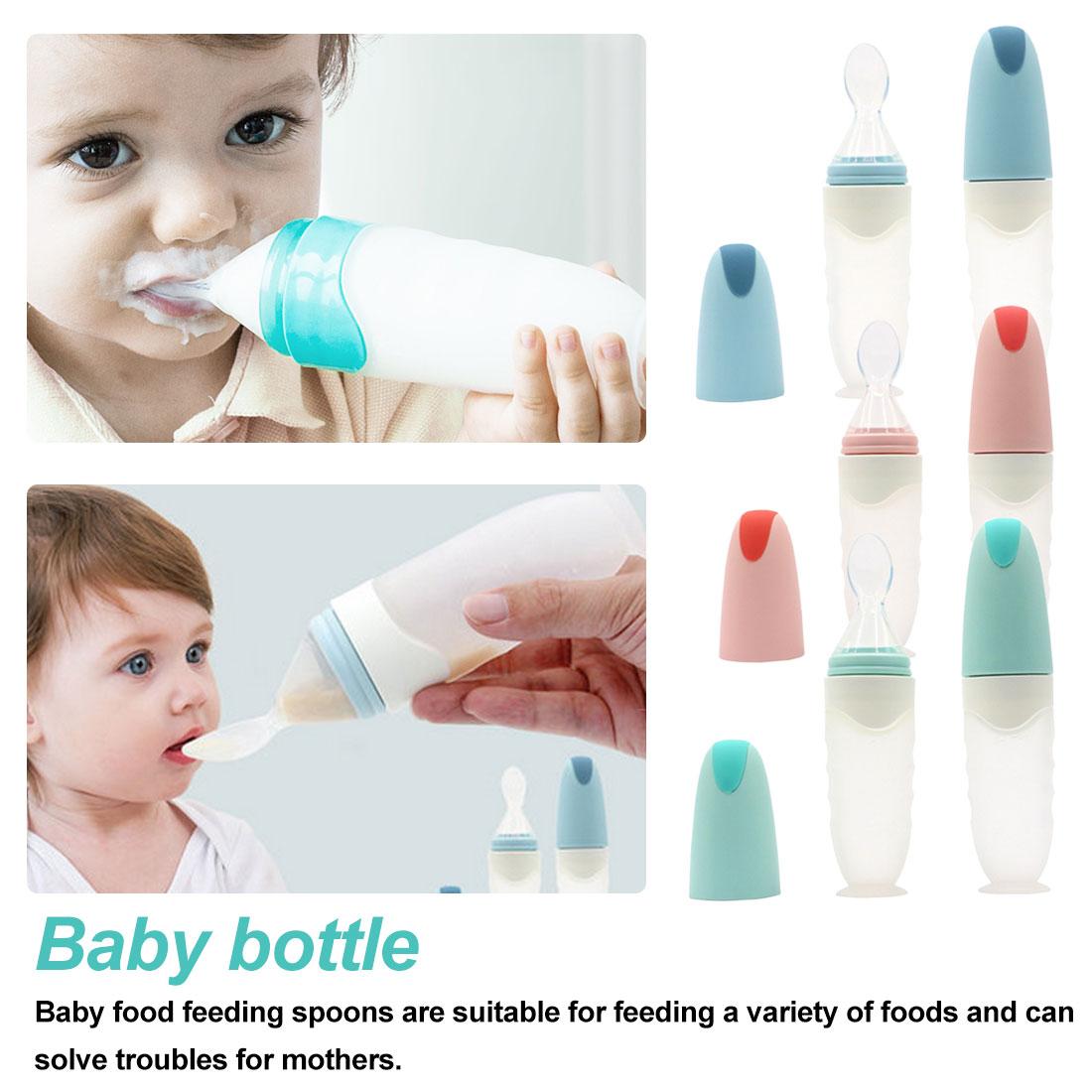 Safe Newborn Baby Feeding Bottle Toddler Silicone Squeeze Feeding Spoon Milk Cereal Bottle Baby Training Feeder Food Supplement