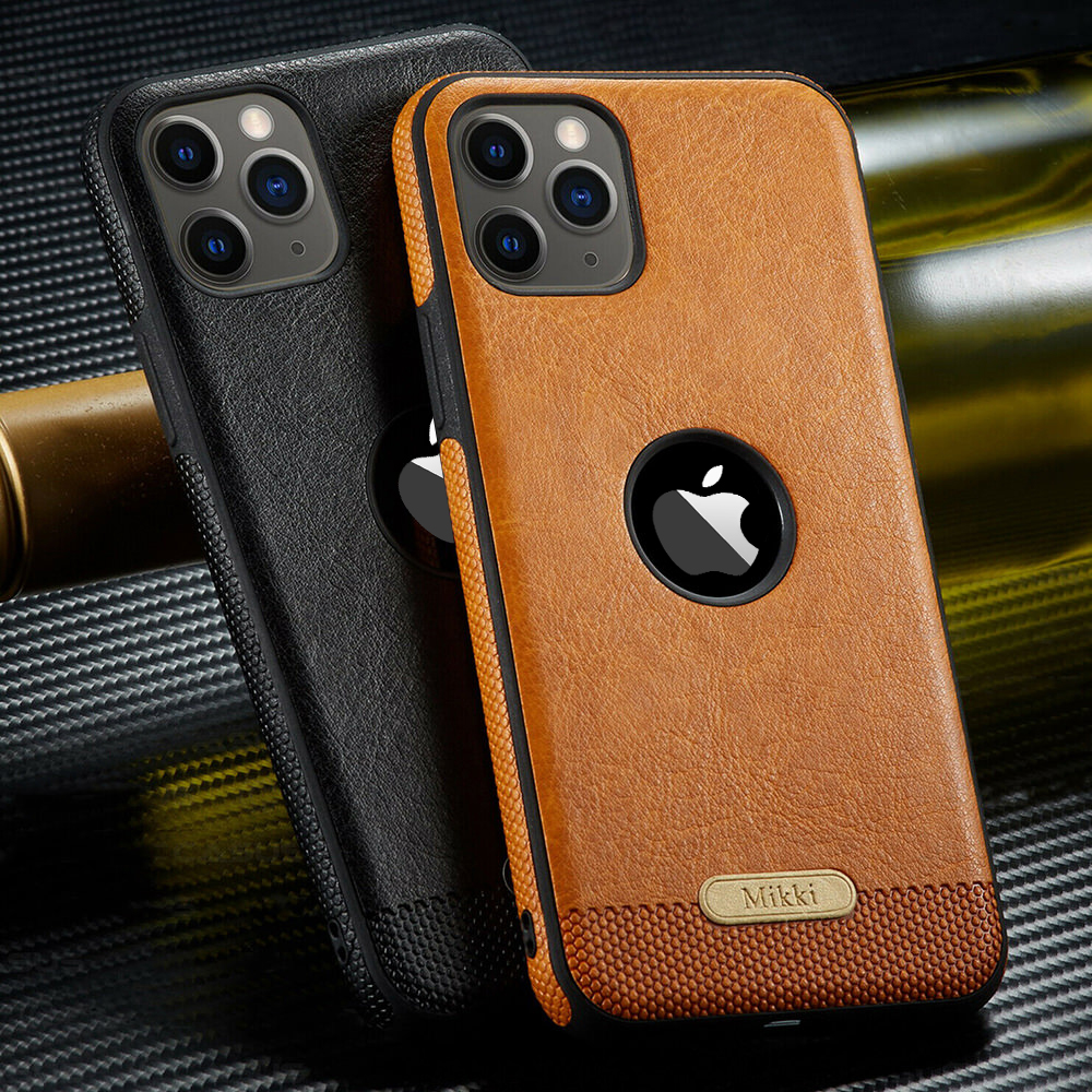 Luxury Business <font><b>Leather</b></font> <font><b>Case</b></font> For <font><b>iPhone</b></font> 11 Pro Max Shockproof Cover For <font><b>iPhone</b></font> <font><b>8</b></font> Plus 7 6S 6 <font><b>Logo</b></font> Hole Thin Soft Silicone Coque image