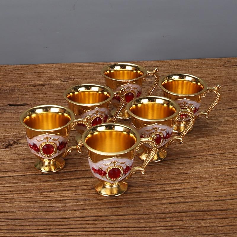Free shipping golden and blue color metal Sherbet set/tea set, fashion zinc alloy Sherbet set, 1 set= 1 plate+ 1 pot +6 cups