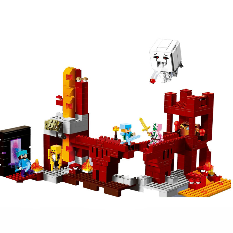 The Nether Fortress Building Blocks With Steve Action Figures Compatible LegoINGlys MinecraftINGlys Sets Toys 21122 2