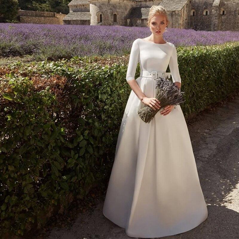 Verngo A-line Wedding Dress Elegant Vintage Bride Dress Trouwjurk Simple Weeding Gowns Long  Suknia Slubna