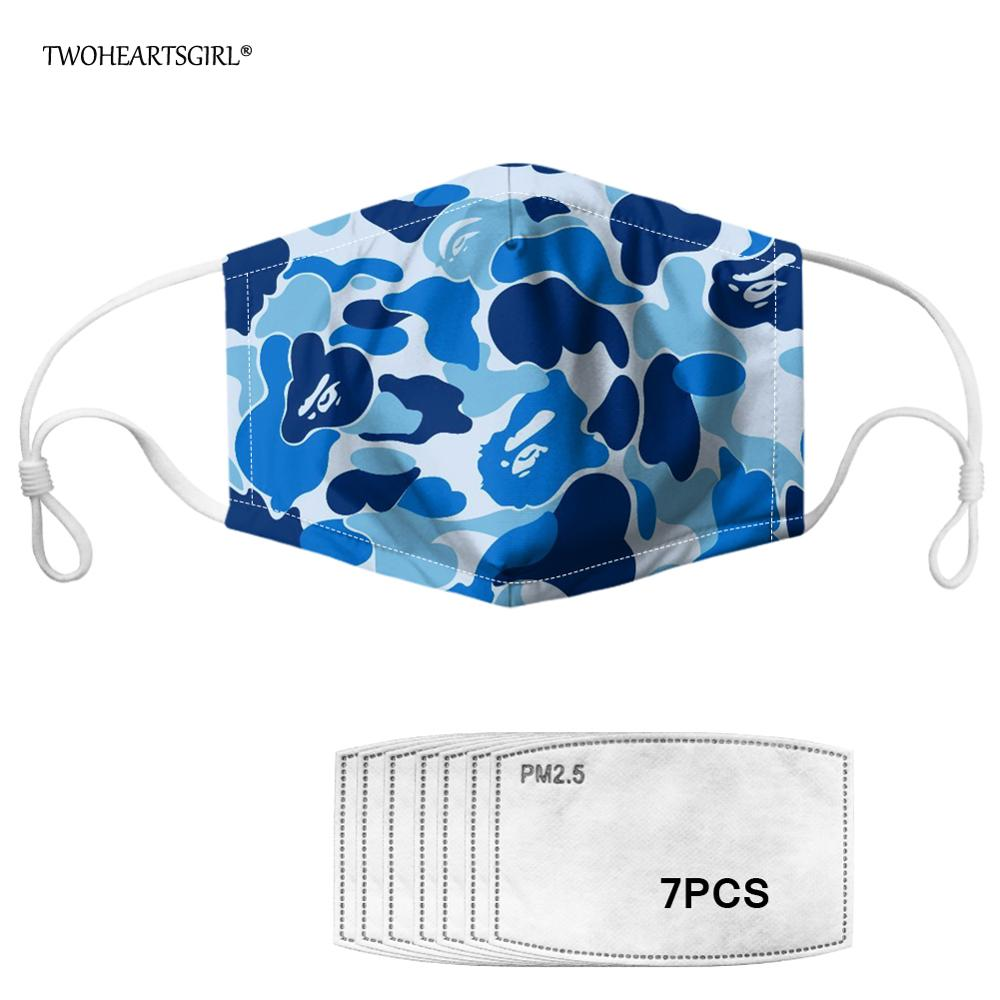 Twoheartsgirl Colorful Camouflage Print Face Mask Printing Men Women Mouth Mask Washable Reusable Kids Mask Anti-Dust