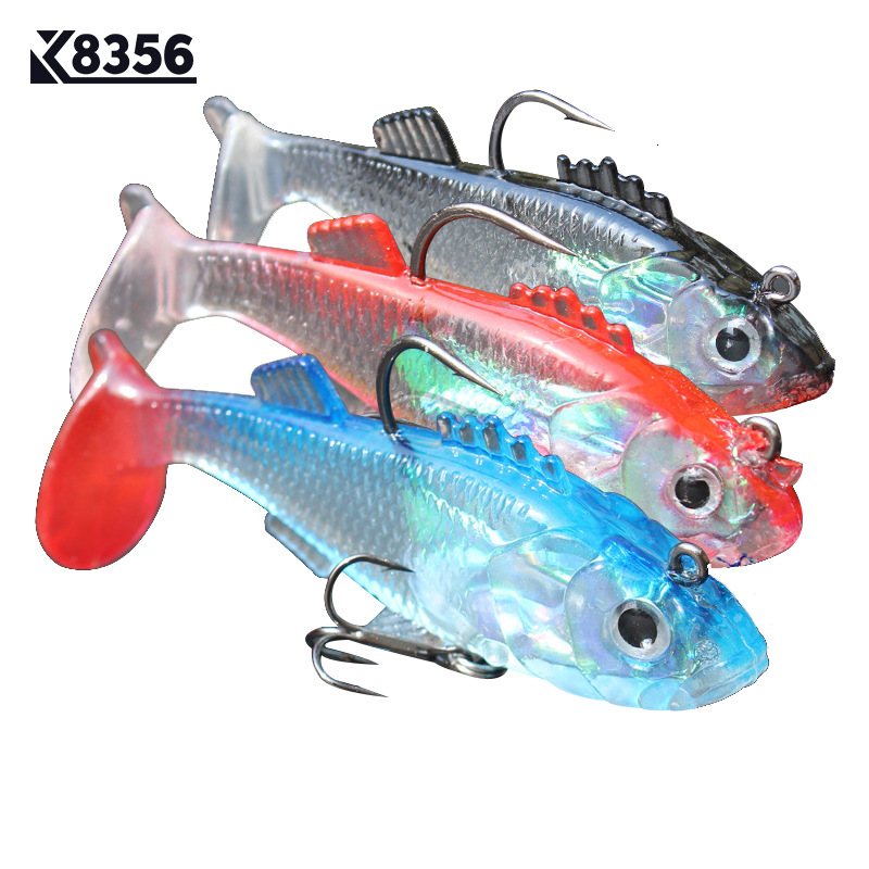 K8356 3Pcs/Lot 8g 15g Fishing Lures Multicolor Soft Bait Artificial Bait Package Lead Jig Fake Lure Sea Fishing Tackle