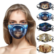 5Pcs Funny Cats Mask Anime Printed Mask Breathable Reusable Winter Mask Dustproof and breathable Multi-color mascara ciclismo