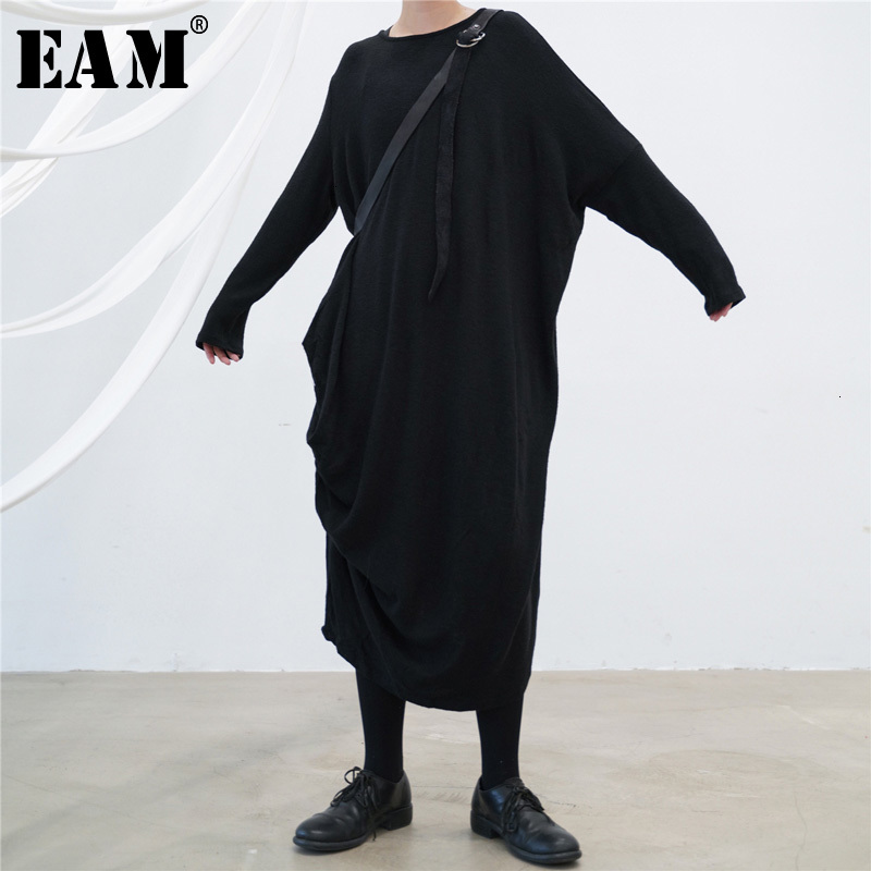 [EAM] Women Black Long Big Size Knitting Dress New Round Neck Long Sleeve Loose Fit Fashion Tide Spring Autumn 2019 1H049
