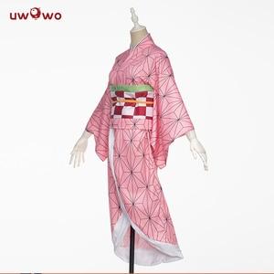Image 3 - In stock Uwowo Anime Costume Demon Slayer Cosplay Nezuko Kimono  Costume Women Kimetsu no Yaiba Women Pink Kimono Halloween