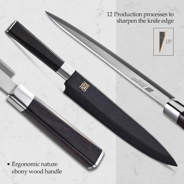 Fishing Filleting Kitchen Knives 9.5/10.5/12 inch,Ebony Handle.
