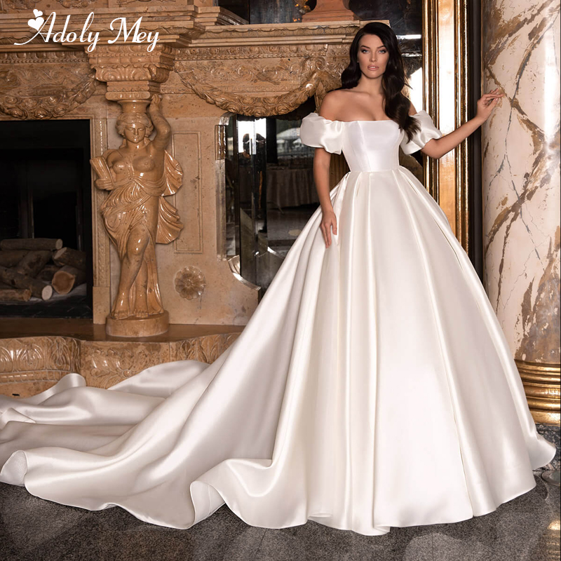 Adoly Mey New Romantic Boat Neck Backless A-Line Wedding Dresses 2020 Graceful Satin Chapel Train Princess Bride Gown Plus Size