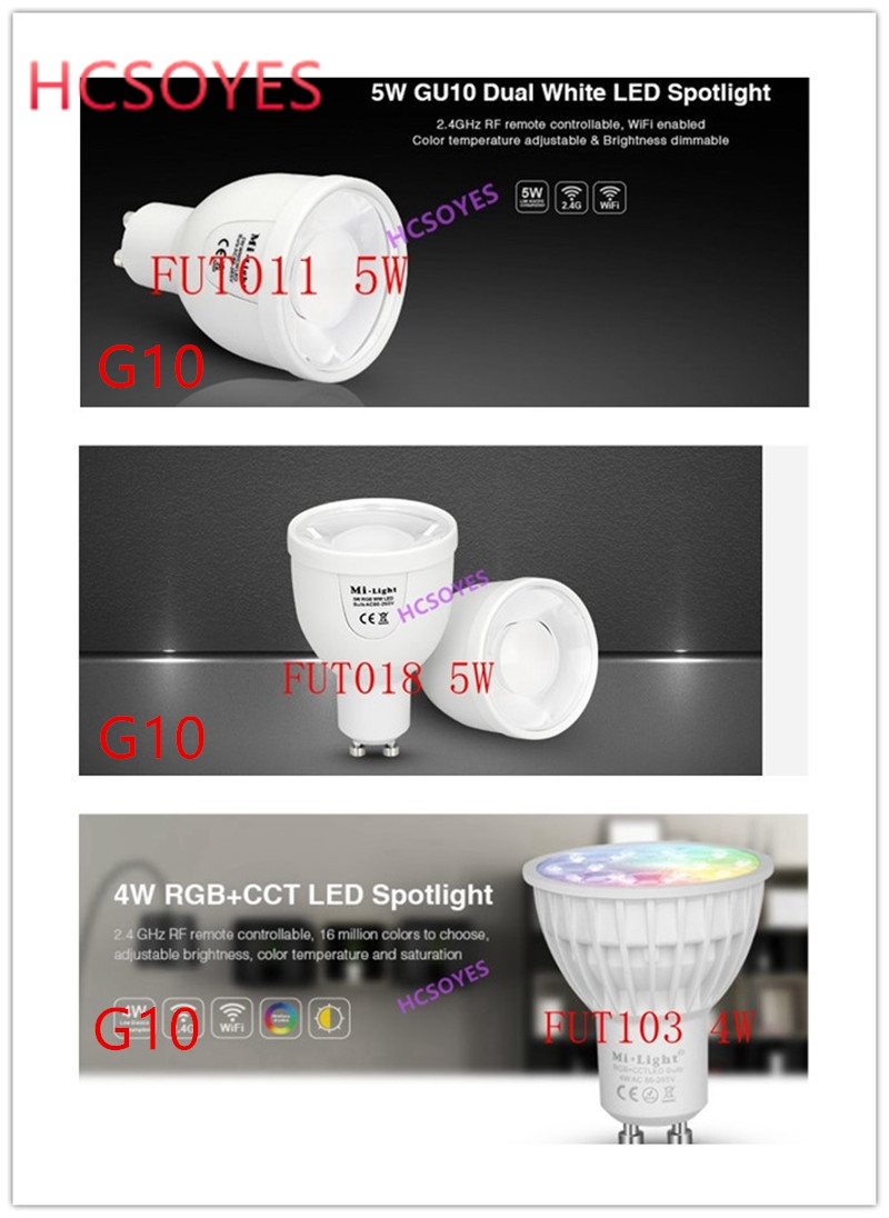 Milight GU10 FUT011 5W/FUT018 5W/FUT103 4W LED Bulb Spotlight Dual White RGBW RGB+CCT 2.4GHZ Wireless Remote /WiFi APP Control