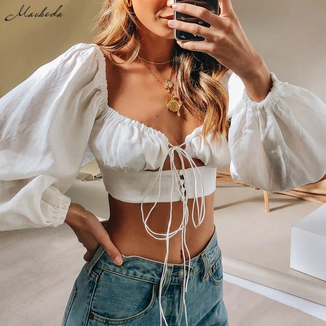 Macheda French Romance White Crop Tops Women Autumn Sexy  Hollow Out Long Sleeve V Neck Top Ladies Casual Solid Blouses New 1
