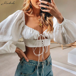 Macheda French Romance White Crop Tops Women Autumn Sexy Hollow Out Long Sleeve V Neck Top Ladies Casual Solid Top 2019 New