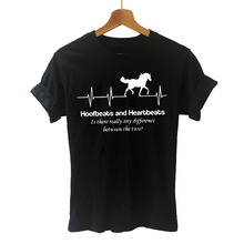 Women Clothing Harajuku t-Shirt Plus-Size Tees Tops Short-Sleeve Horse-Heartbeat Casual