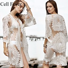 Cover Up Beach Woman Floral Embroidery Bikini Swimwear Women Robe De Plage Cardigan Bathing Suit Ups