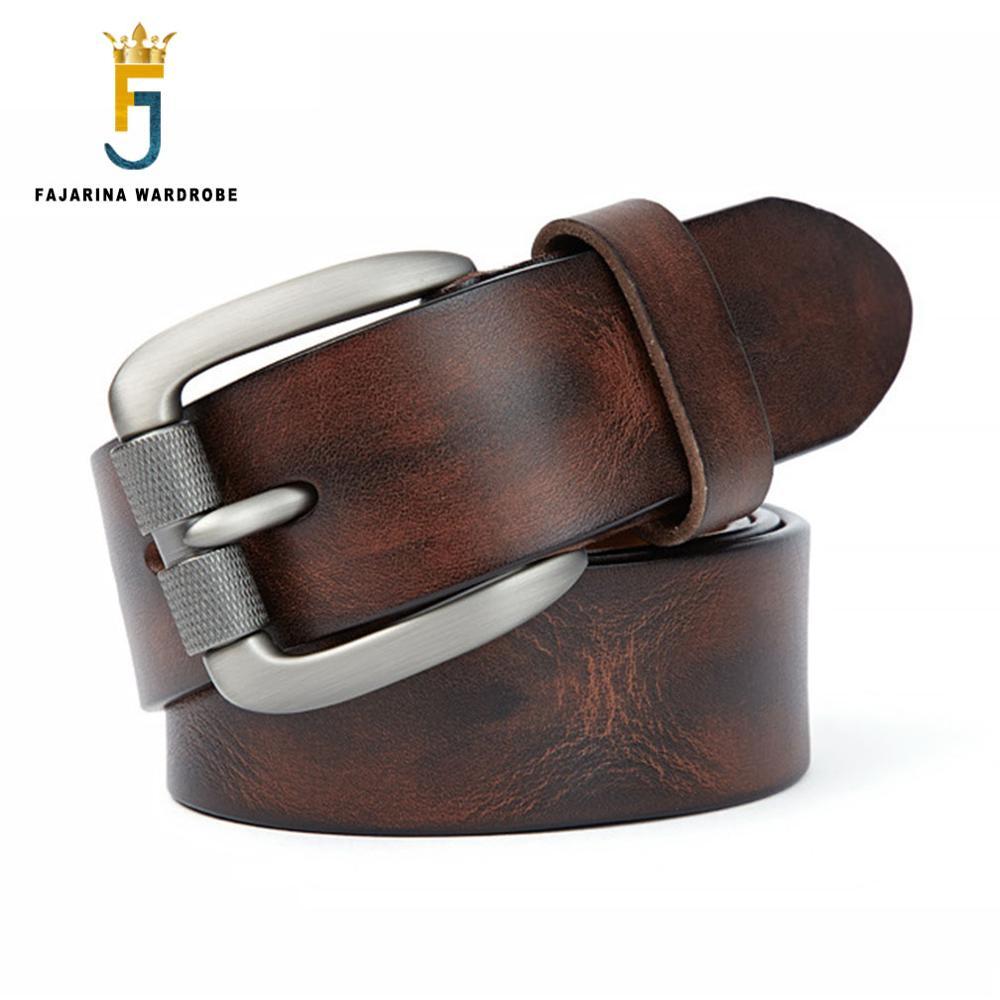 FAJARINA Top qualité rétro Styles ceinture 100% Pure vache en cuir véritable fermoir boucle ceintures pour hommes Jeans accessoires N17FJ742