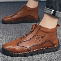 New Men Ankle Boots Luxury Handmade Sewing Comfortable Moccasins Outdoor Hiking Non-slip Business Casual Adult Soft Size38-48 1
