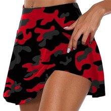 Estampado de camuflaje mujeres falda Shorts Fitness Jogger Sweat Shorts verano alta cintura Skorts Pantalones Cortos Culote de ciclista Pantalones