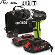 25V Electric Tools Impact Drill Screwdriver Cordless Battery 25+3 Torque