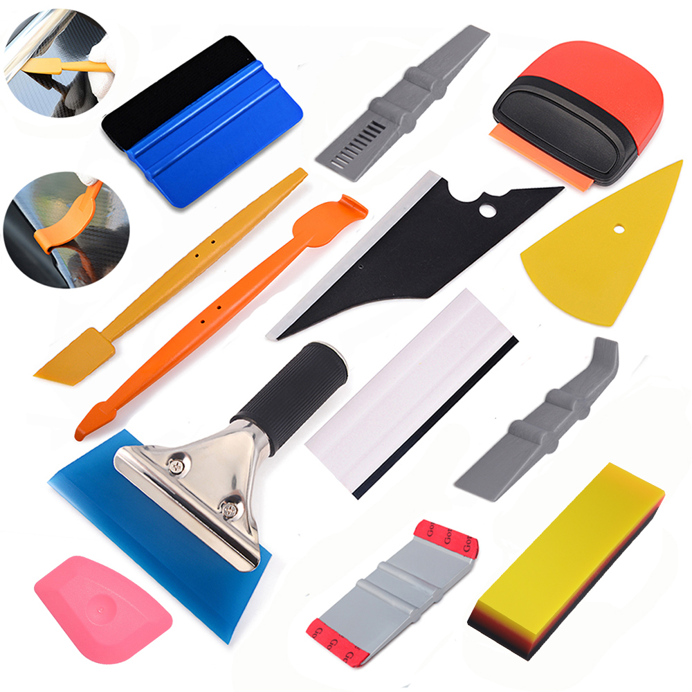 Carbon fiber vinyl car wrap tool set magnetic squeegee stick tool car window tint tool kit auto foil film wrapping tools scraper(China)