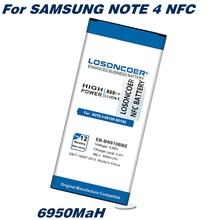 LOSONCOER 6950mAh NFC NFC Para Samsung Nota 4 EB-BN910BBE N910 N910F N910A N910V N910P N910T N910H Bateria