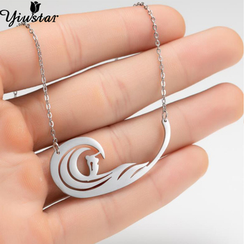 Yiustar Fashion Sportman Bijoux Ocean Wave Necklace Stainless Steel Surfing Shape Pendants Chokers Summer Beach Jewelry Men Gift image