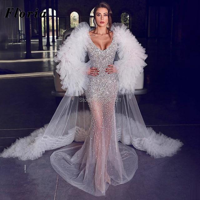Beaded Wedding Dresses With Long Train 5