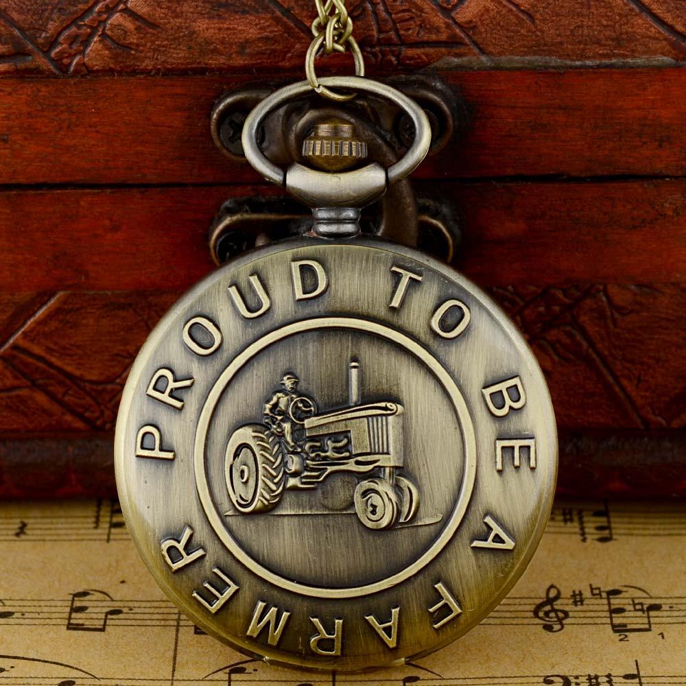 IBEINA Vintage Bronze Proud To Be A Faemer Quartz Pocket Watch With Chain Retro Men Women Pendant Necklace Clock Gift
