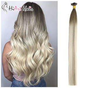 HiArt 0.8g/s Flat Tip Hair Extensions Salon Double Drawn Human Remy Hair Factory Keratin Capsules Extension Straight Balayage(China)