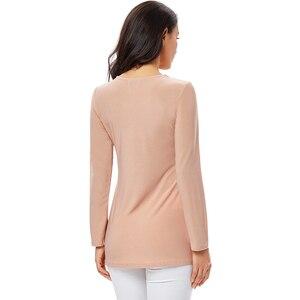 Image 3 - YTL בתוספת גודל נשים חולצה בציר אביב סתיו פרחוני הסרוגה תחרה למעלה כותנה שרוול ארוך טוניקת חולצה חולצה 6XL 7XL 8XL H025