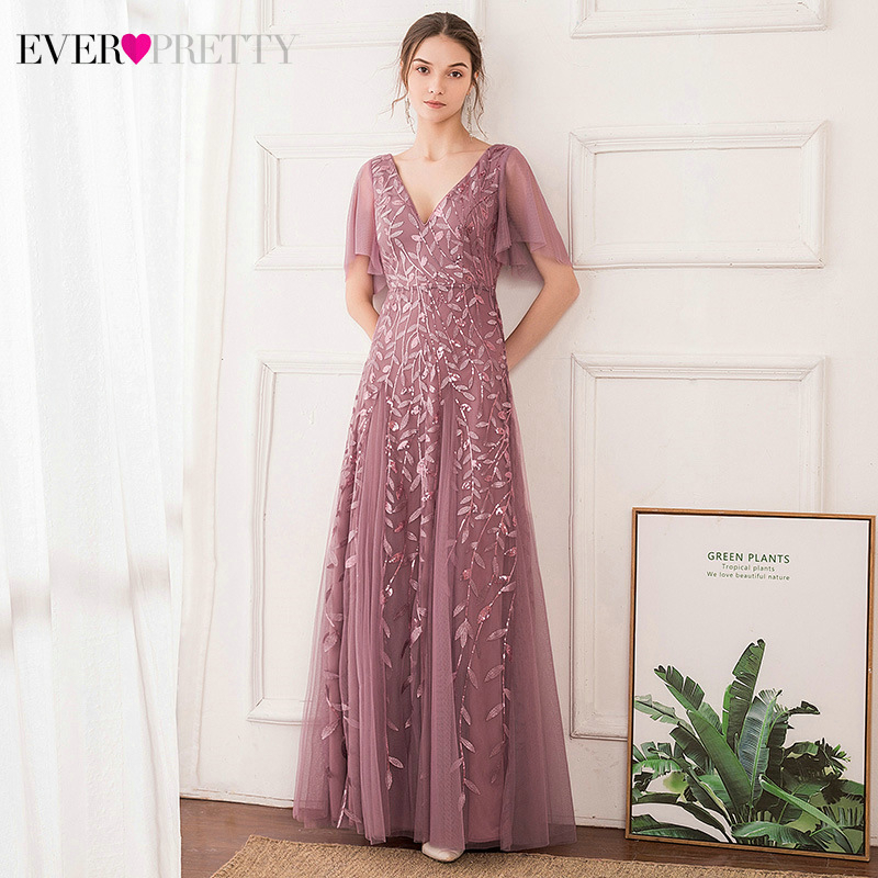 Elegant Sequined Evening Dresses Ever Pretty A-Line Deep V-Neck Short Ruffles Sleeve Tulle Long Evening Gowns Vestidos Elegantes
