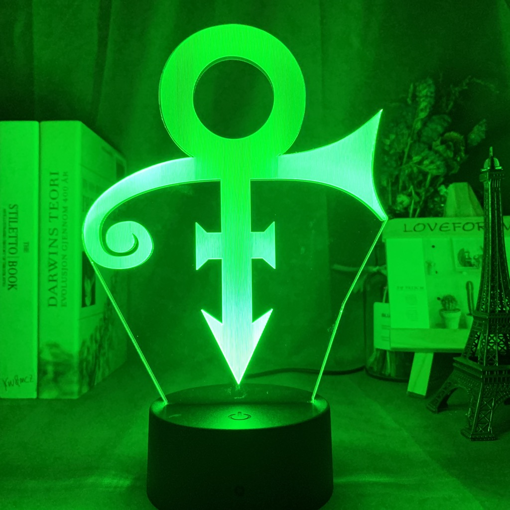 Acrylic Led Night Light Prince Symbol Logo Nightlight for Office Room Decoration Touch Sensor Color Changing Table Usb Lamp