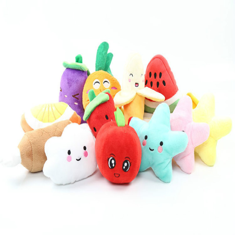1PCS Stuffed Toy Squeaker Squeaky Plush BIBI Sound Fruits Vegetables Watermelon Stars Carrot Banana Plush Toy Small Size