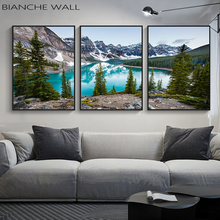 Lake Forest Stone Mountain Canvas Poster Landscape Picture Poster Scenery Nature Canvas Wall Art Print Painting Nordic Decoation