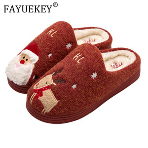 Image 1 - 2019 Winter Cotton Slippers Christmas Cartoon Xmas Deer Women Shoes Lovely santa clause Home Floor Soft non slip men Slippers