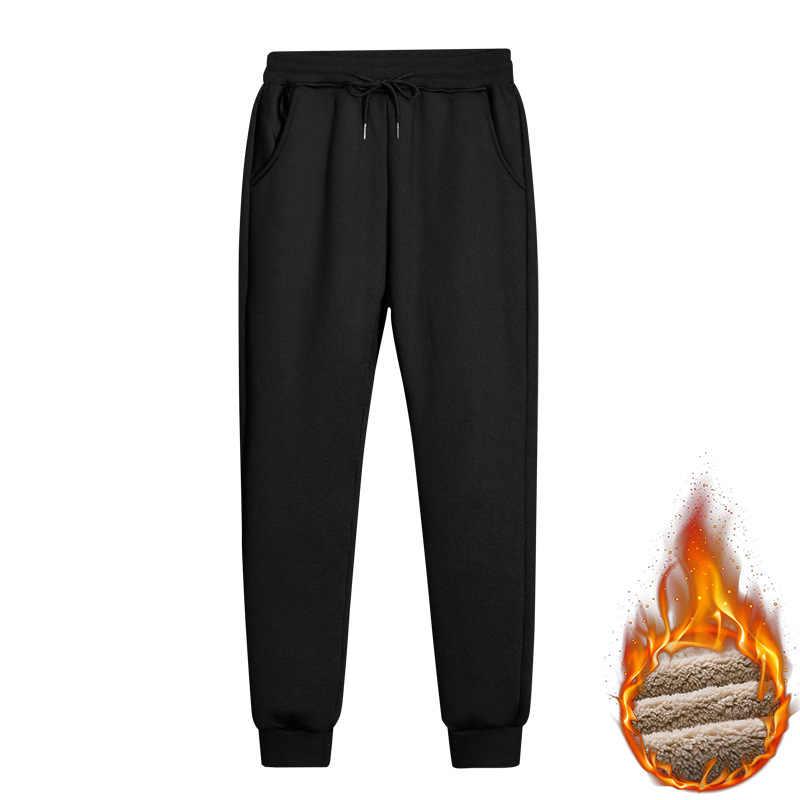 Kargo kış erkek pantolon sıcak polar Joggers Sweatpants erkek spor düz pantolon rahat konfor uzun pantolon Drop Shipping