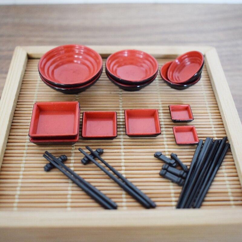 6 Pair Metal Bowl Chopsticks Set 1//12 Dollhouse Tableware Pretend Play Toys