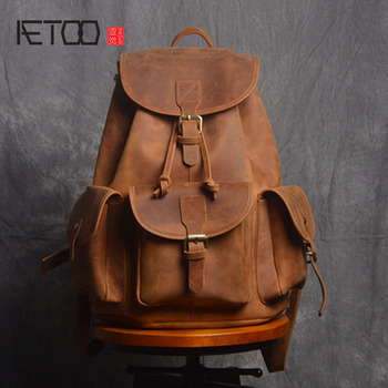 AETOO Retro Shoulder Bag Genuine Handmade Men Women Casual Travel Backpack Large Capacity First Layer Leather europe and the retro style men and women backpack genuine leather knapsack casual travel bag schoolbag packsack men bags