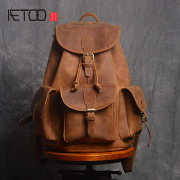 AETOO Retro Shoulder Bag Genuine Handmade Men Women Casual Travel Backpack Large Capacity First Layer Leather - Category 🛒 Luggage & Bags