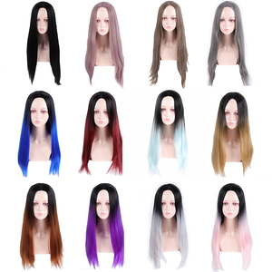 Image 4 - MUMUPI 26inch Black Color Long Silky Straight Hair Wig Gluless Heat Resistant Natural Middle Part Synthetic Wig for Black Women