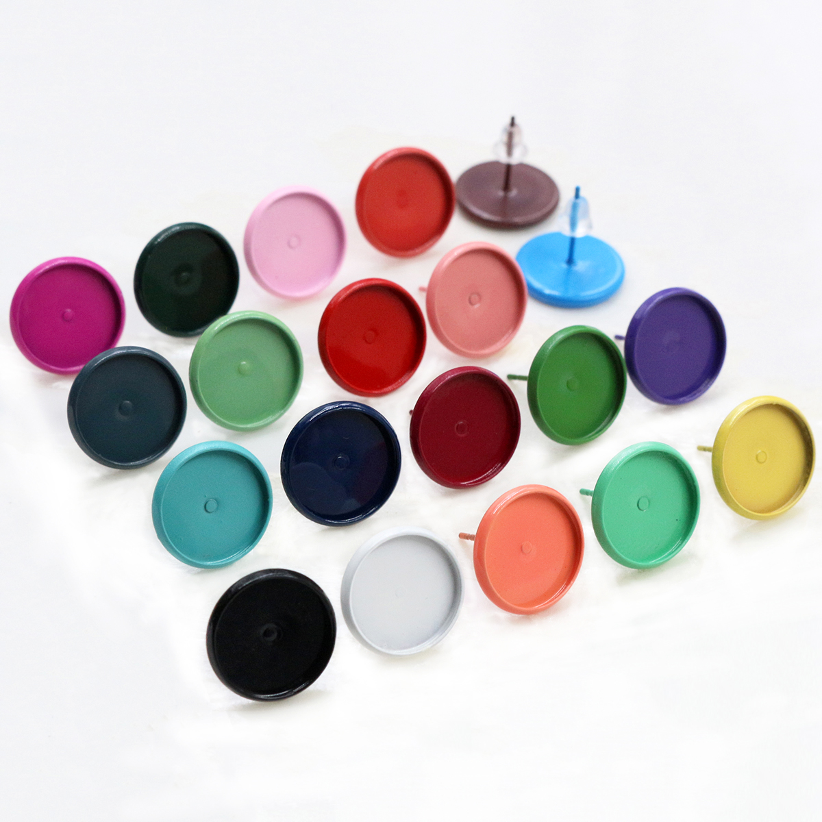12mm 20pcs/ Lot  26 Color Plated Earring Studs,Earrings Blank/Base,Fit 12mm Glass Cabochons,Buttons;Earring Bezels