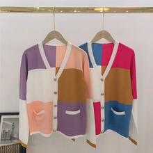 Женский шерстяной свитер модный кашемировый кардиган с золотыми