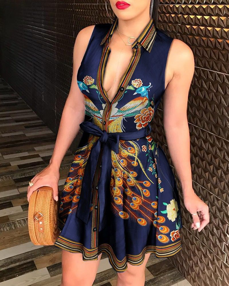 H2ecef7c67f504acaa8306de17dc6a6cbR - Print Fashion Mini Dress Women Sexy Sleeveless Party Dresses for Woman Clothes Vestido De Mujer Sashes Clothing Plus Size XXL