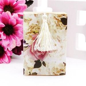 Image 4 - Caixa de papel doces 50 pçs/lote casamento, embalagem de presente de casamento caixa de doces forma de gaveta lembrancinha viagem caixa de doces flores casamento lembranças caixa de presente