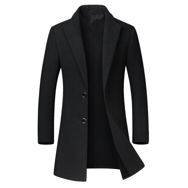 Winter Oversized Woolen Coat Men's Casual Blend Coat High Quality Windbreaker Long Sleeve Wool Jacket Men Black Mens Overcoat