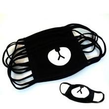 2Pcs Cotton Mouth Face Mask Unisex Men Women Korean Fashion Cute Bear Black Muffle Mouth Mask Cycling Anti Dust Masks
