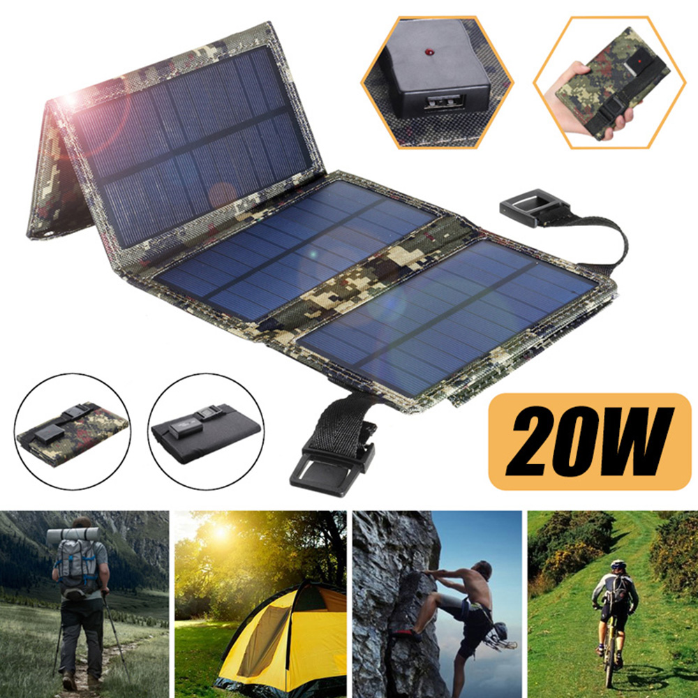Solar Panel Charger Mobile Power Battery Charger Foldable 20W USB Solar Panel Waterproof Solar Panel Charger Outdoor Indoor New