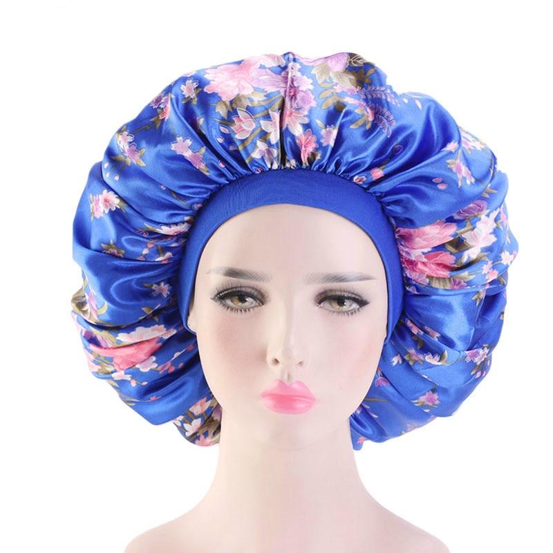Атласное шелковое шляпка с большим принтом, широкая эластичная лента для сна для женщин, однотонный головной убор, Женские аксессуары для в...