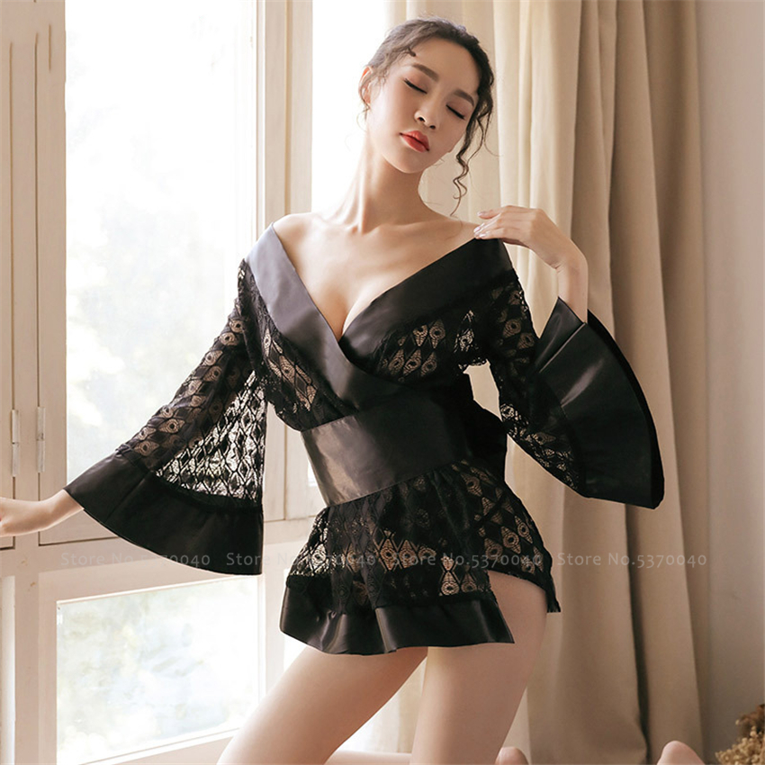 Japanese Style Women Kimono Cardigan Mujer Haori Lace <font><b>Sexy</b></font> Bath Robe Sleepwear Femme Yukata Satin Dress Party Geisha <font><b>Cos</b></font> Costume image