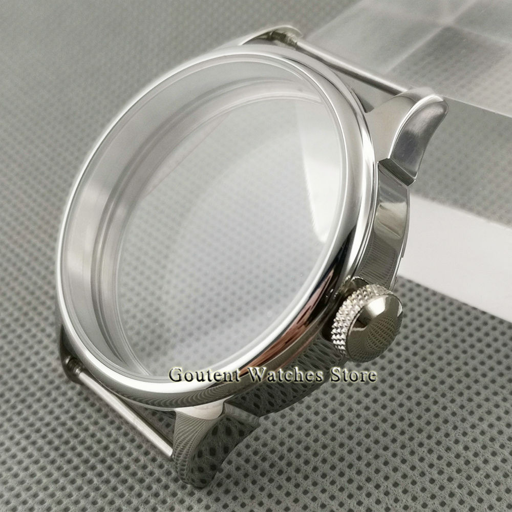 Coutent 42mm  Polished Watch Case Silver Stainless steel Fit ETA 6497,6498,Seagull ST36 Movement watch shell
